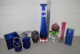 GROUP OF ART GLASS WARES INCLUDING LARGE TAPERED BLUE COLOURED GLASS VASE