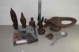 BOX CONTAINING TRIBAL ART, METAL BEADS, METAL BELL, ETC
