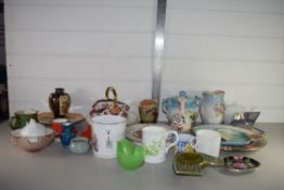 TRAY CONTAINING MIXED QUANTITY OF COLLECTORS PLATES, TEA CUPS, SAUCERS, VASES ETC