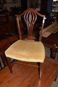 UPHOLSTERED DINING CHAIR WITH CARVED DETAIL, WIDTH APPROX 51CM
