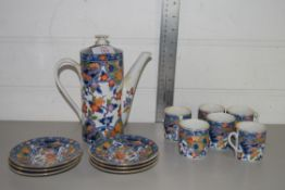 SMALL COFFEE SET, POT WITH SIX SMALL COFFEE CANS AND SAUCERS