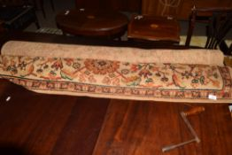 FLORAL DECORATED RUG, WIDTH APPROX 137CM