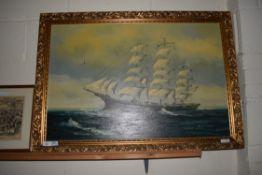 LARGE OLEOGRAPH OF A SAILING SHIP
