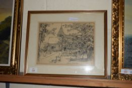 DRAWING OF ST PETERS LIMPSFIELD, SIGNED R H YATES