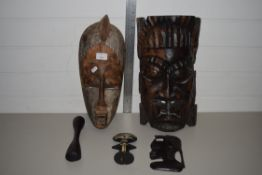 GROUP OF TRIBAL ART WOODEN CARVINGS OF VARIOUS HEADS, PROBABLY NIGERIAN/WEST AFRICAN