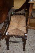 SMALL RUSH SEATED JOINTED STOOL, LENGTH APPROX 66CM