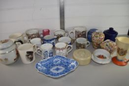 CERAMICS, MAINLY COMMEMORATIVE MUGS AND SMALL PEARLWARE SHAPED BLUE AND WHITE TRAY