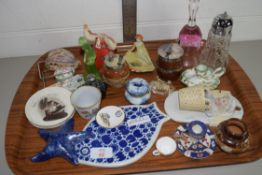 CERAMIC ITEMS, SOME MUSTARDS INCLUDING A DOULTON COLMAN'S MUSTARD POT AND POT WITH SILVER METAL