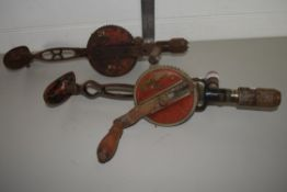TWO VINTAGE CARPENTRY DRILLS