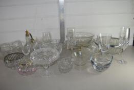 BOX CONTAINING CUT GLASS WARES, FRUIT BOWLS, WINE GLASSES ETC