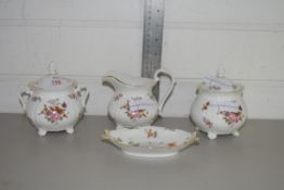 QTY OF CERAMICS, TWO POTS AND COVERS, ROYAL CROWN DERBY POSIES PATTERN SMALL DISH