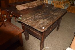 18TH CENTURY AND LATER COFFER WITH SLIDING PLANK TOP, APPROX 146 X 68CM