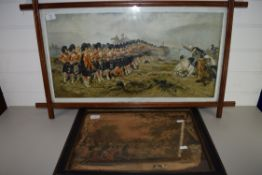 TWO PRINTS, ONE MILITARY SUBJECT IN SQUARE ART NOUVEAU STYLE FRAME