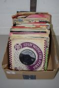 SMALL BOX CONTAINING RECORDS, 45RPM