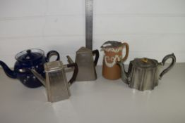 TRAY CONTAINING POTTERY JUG, PLATED TEA POT AND OTHER ITEMS