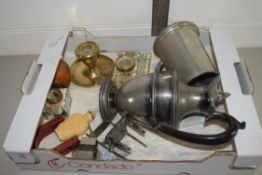 BOX CONTAINING PLATED WARES, PEWTER TANKARD, PLATED COFFEE POT, GLASS INKWELL ETC