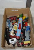 SMALL BOX CONTAINING TOY CARS IN PLAY WORN CONDITION