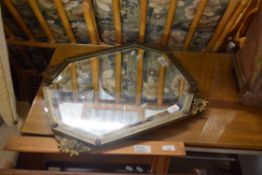 OCTAGONAL WALL MIRROR WITH PRESSED DECORATION METAL SURROUND, APPROX 55 X 45CM