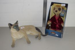 LARGE POTTERY FIGURE OF A SIAMESE CAT, PLUS A BOXED MODEL OF A MEERKAT