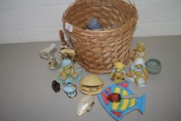 SMALL WICKER BASKET CONTAINING MAINLY MODELS OF TEDDY BEARS BY HAMILTON GIFTS