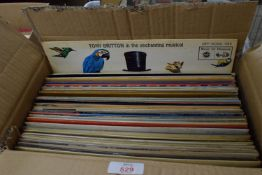 BOX OF 33RPM ALBUM RECORDS INCLUDING TOP OF THE POPS COMPILATIONS ETC