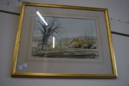 FRAMED WATERCOLOUR OF A FARMHOUSE, SIGNED NANCY COOPER, APPROX 24 X 35CM
