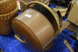 COPPER COAL SCUTTLE AND KETTLE AND WATER CAN