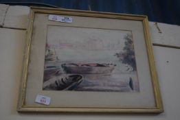 SMALL WATERCOLOUR OF BOATS, APPROX 22 X 28CM