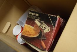BOX CONTAINING KITCHEN WARES INCLUDING PASTA MAKER