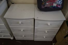 PAIR OF WHITE PAINTED BEDSIDE CABINETS, EACH WIDTH APPROX 46CM