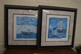PAIR OF FRAMED PRINTS OF BOATS