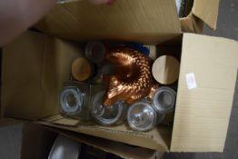 BOX CONTAINING KITCHEN STORAGE JARS