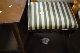 UPHOLSTERED STOOL WITH TURNED STRETCHER