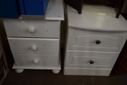 TWO PAINTED WOOD BEDSIDE CABINETS