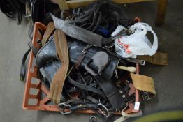 BOX CONTAINING HORSE HARNESS, RIDING BOOTS ETC