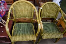 PAIR OF CANE ARMCHAIRS, EACH WIDTH APPROX 61CM