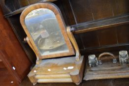SMALL SWING MIRROR TOGETHER WITH AN OAK DESK INKWELL SET