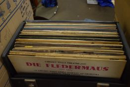 RECORD CASE CONTAINING 33RPM RECORDS, MOST APPEAR THEATRICAL/CLASSICAL
