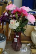 ART GLASS VASE AND FAKE FLOWERS