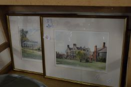PAIR OF FRAMED PRINTS OF COUNTRY HOUSES
