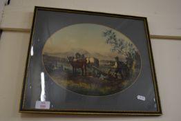 FRAMED PRINT OF HORSE PLOUGHING