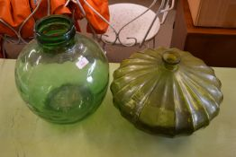 TWO LARGE GLASS BOTTLES