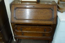 STAINED WOOD DROP FRONT BUREAU, WIDTH APPROX 74CM