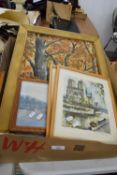 BOX OF MIXED PICTURES, PHOTOGRAPH FRAMES INCLUDING LARGE OIL ON BOARD, WOODLAND SCENE