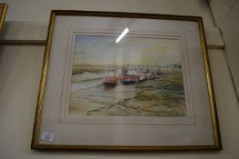 WATERCOLOUR, BOATS IN HARBOUR SIGNED D DAVIS