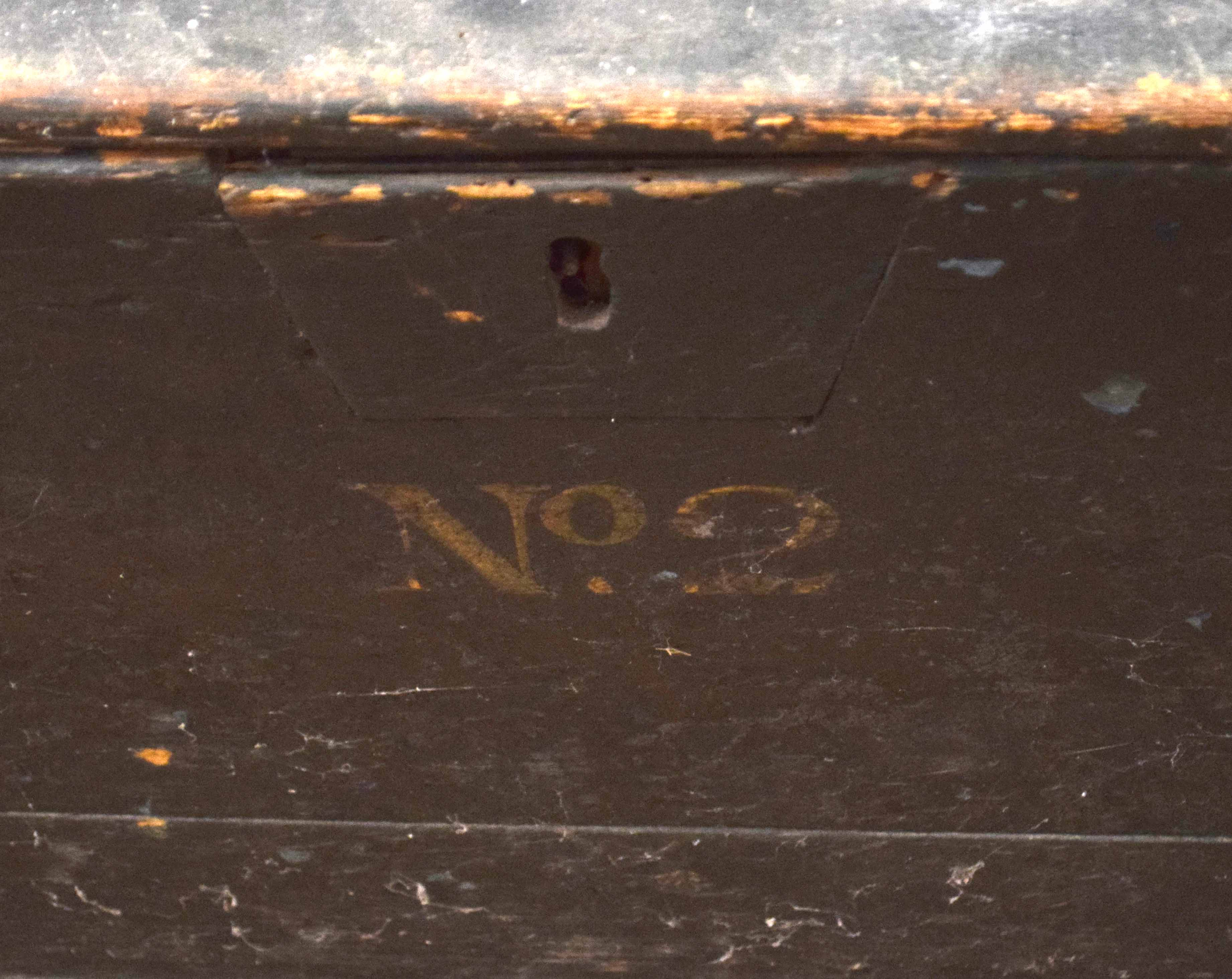 """20th century Naval painted wooden chest with """"HMS WARRIOR"""" on lid, and No 2 below lock plate, - Image 3 of 3"""