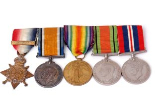 """WWI/WWII group of five comprising 1914 Star with """"Mons"""" clasp together with British War Medal and"""