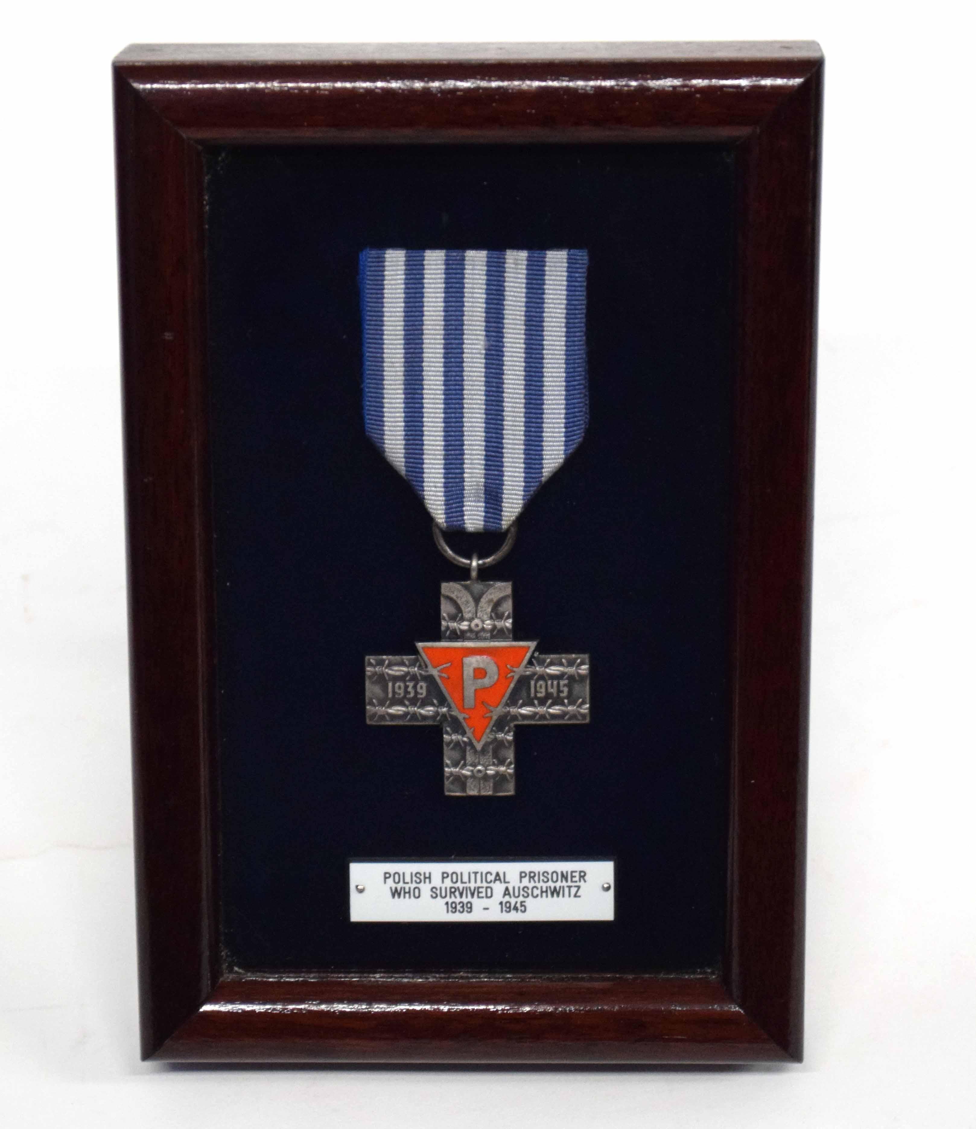 Holocaust survivor medal - Polish political prisoner who survived Auschwitz 1939-1945, displayed