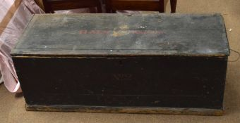"""20th century Naval painted wooden chest with """"HMS WARRIOR"""" on lid, and No 2 below lock plate,"""