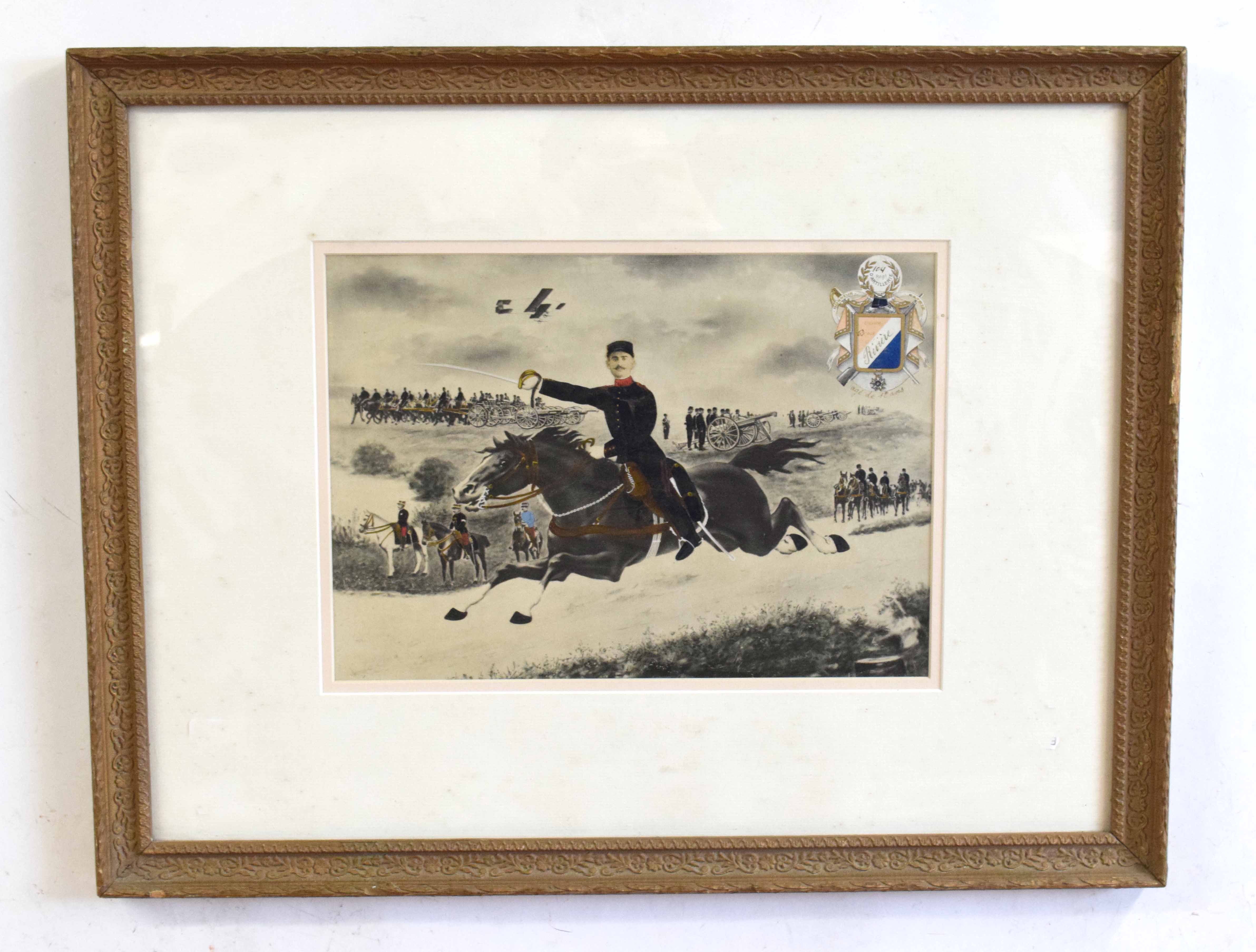 Early 20th century framed memorial scene of WWI to an 18 year old French soldier from the 63rd